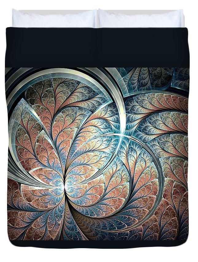 Malakhova Duvet Cover featuring the digital art Metal Forest by Anastasiya Malakhova