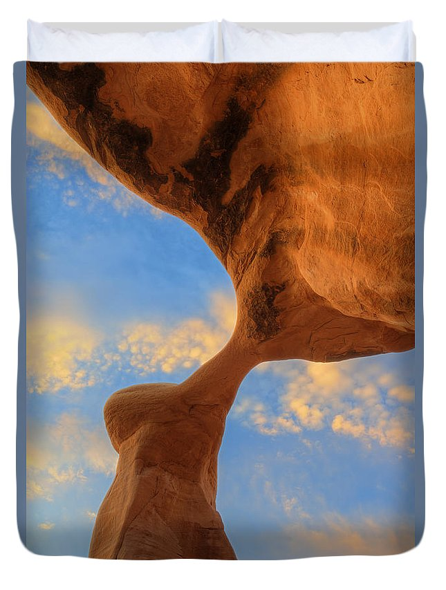 Utah Duvet Cover featuring the photograph Metate Arch Sunset by Dustin LeFevre