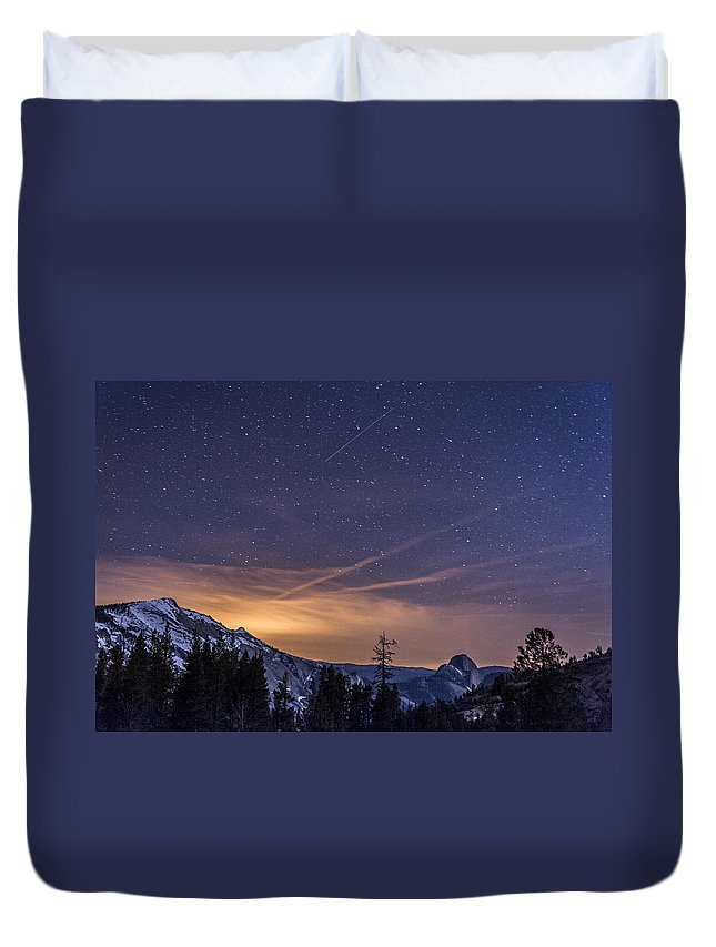 Night Duvet Cover featuring the photograph Night Skies Over Half Dome by Cat Connor