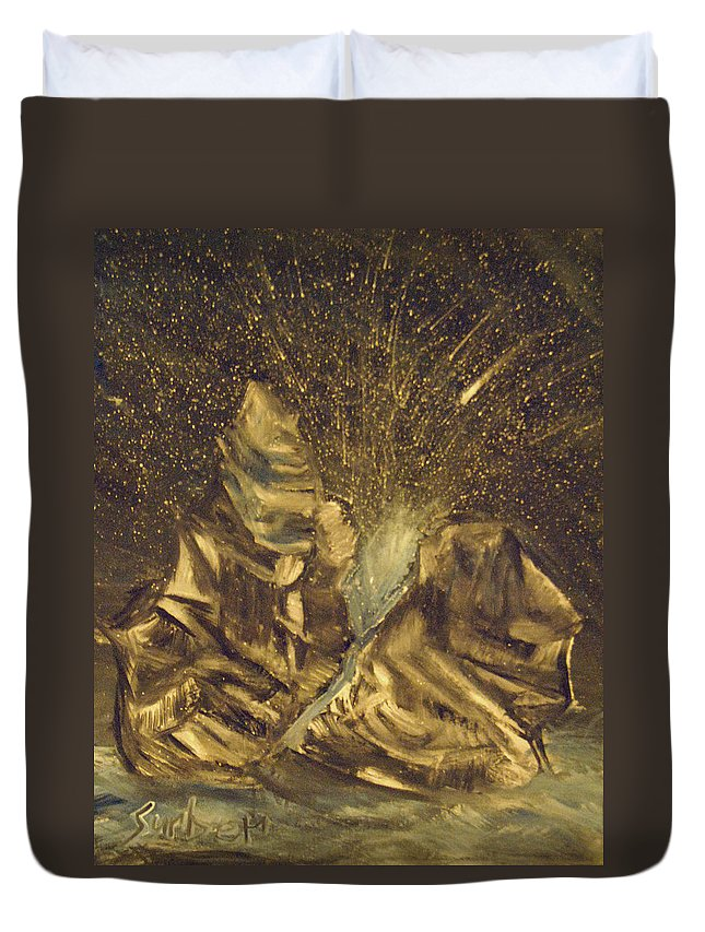 Meteor Duvet Cover featuring the painting Meteor Shower by Suzanne Surber
