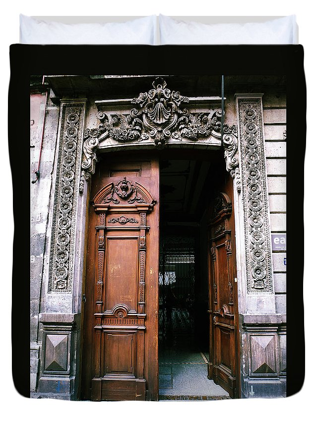 Door Duvet Cover featuring the photograph Mexican Door 5 by Xueling Zou