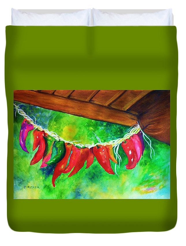 Hot Peppers Duvet Cover featuring the painting Hot Stuff by Jane Ricker