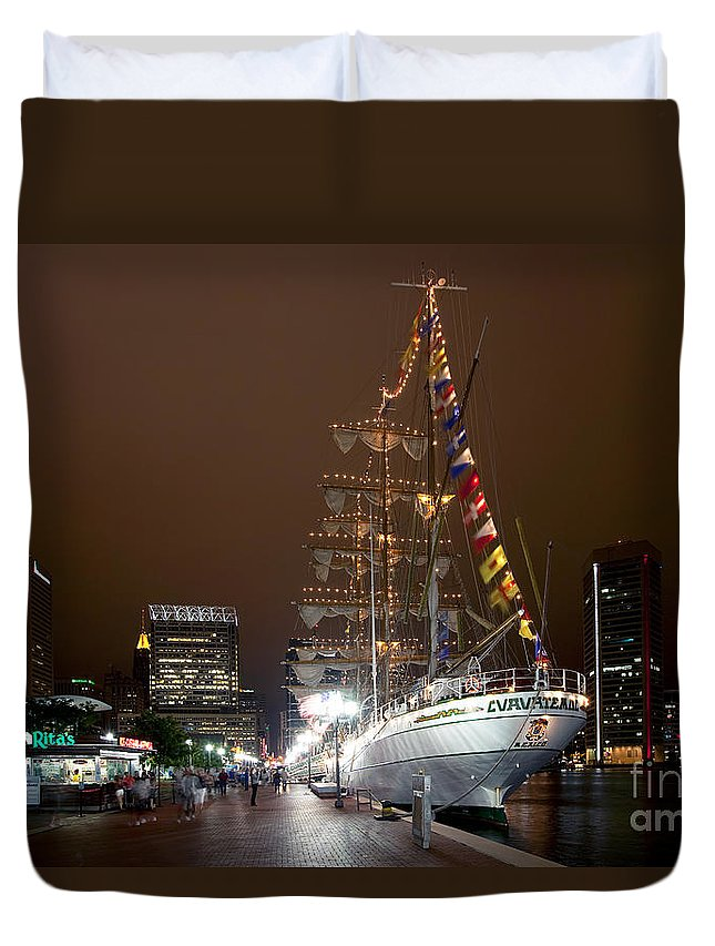 Baltimore Duvet Cover featuring the photograph Mexican Navy Ship Cuautemoc by Bill Cobb