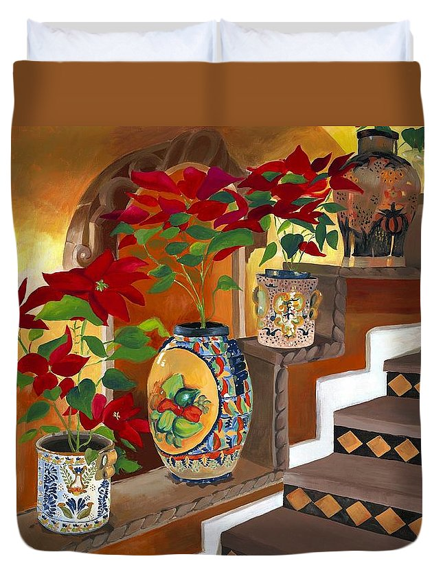 Mexican Pottery Duvet Cover featuring the painting Mexican Pottery On Staircase by Judy Swerlick