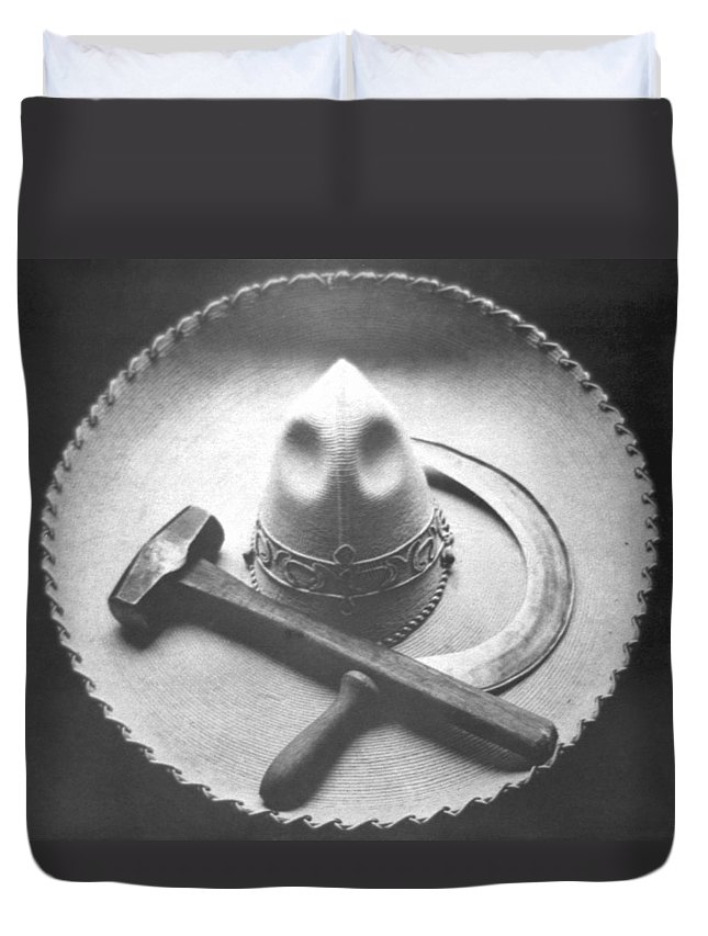Photography Duvet Cover featuring the photograph Mexican Revolution Sombrero With Hammer by Tina Modotti
