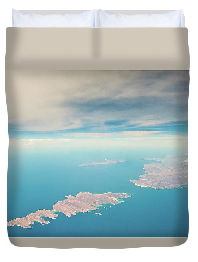 Scenics Duvet Cover featuring the photograph Mexico Baja From Air by Christopher Kimmel