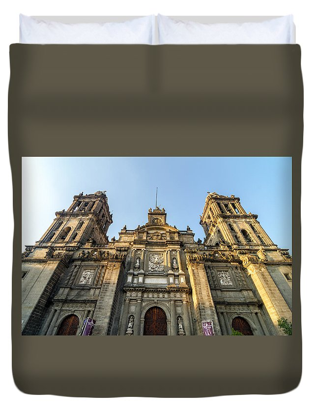 Mexico Duvet Cover featuring the photograph Mexico City Cathedral Facade by Jess Kraft