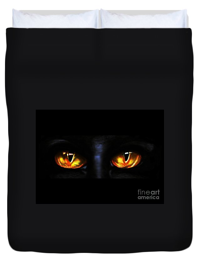 Eyes Duvet Cover featuring the drawing Mezmereyes by Derrick Bruno-Rathgeber