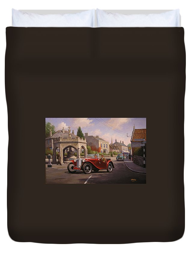 Mg Duvet Cover featuring the painting Mg Tc Sports Car by Mike Jeffries