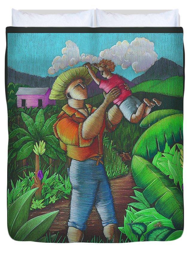 Puerto Rico Duvet Cover featuring the painting Mi futuro y mi tierra by Oscar Ortiz