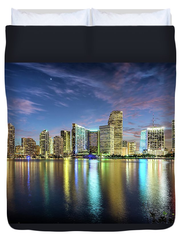 Tranquility Duvet Cover featuring the photograph Miami Florida by Sky Noir Photography By Bill Dickinson