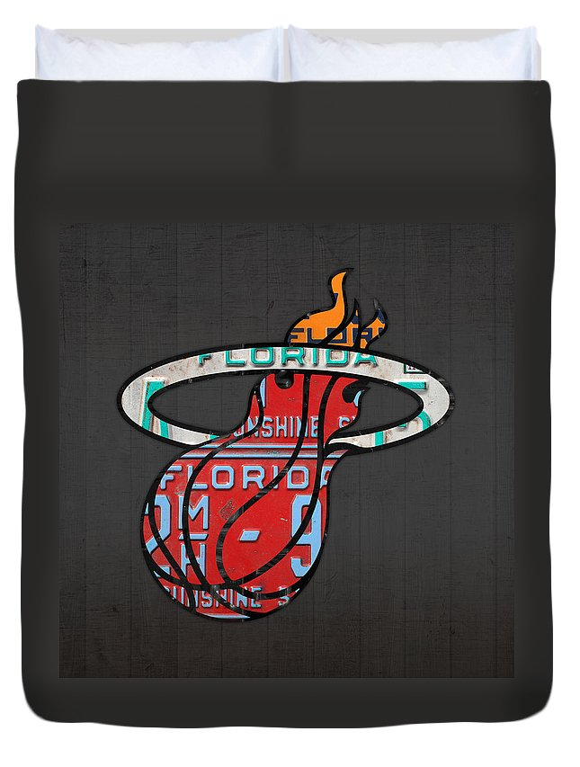 Miami Duvet Cover featuring the mixed media Miami Heat Basketball Team Retro Logo Vintage Recycled Florida License Plate Art by Design Turnpike