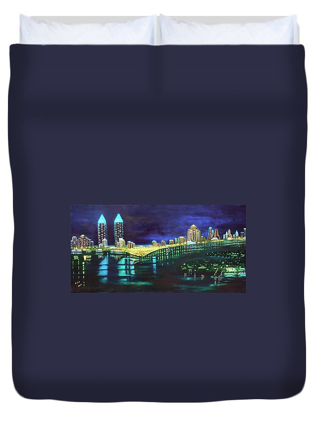 Miami Duvet Cover featuring the painting Miami Skyline Of Lights by Douglas Ann Slusher