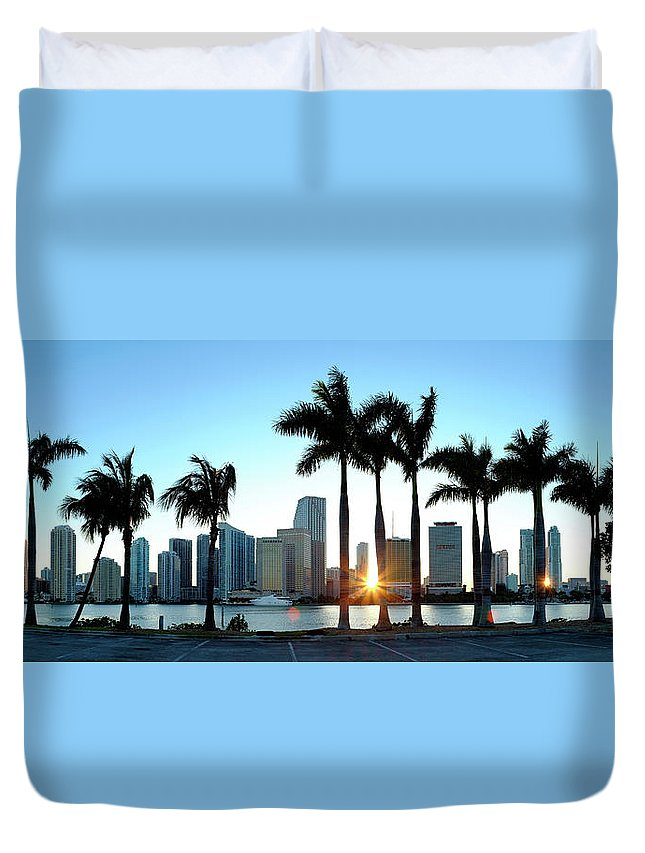 Downtown District Duvet Cover featuring the photograph Miami Skyline Viewed Over Marina by Travelpix Ltd