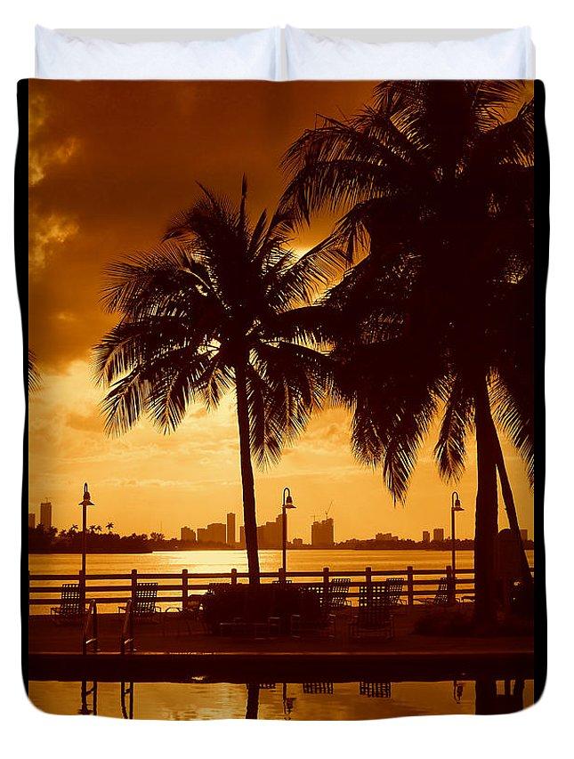 Miami Romance Print Duvet Cover featuring the photograph Miami South Beach Romance II by Monique's Fine Art