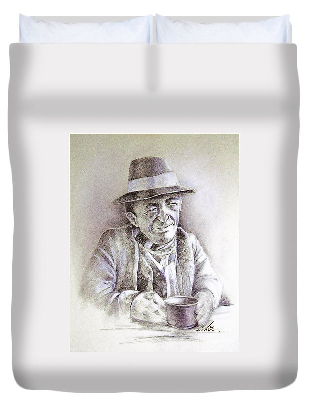 Portrait Michael Anderson Duvet Cover featuring the painting Michael J Anderson by Miki De Goodaboom