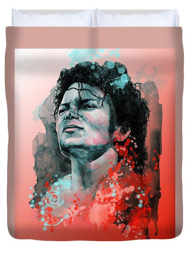 Michael Jackson Duvet Cover featuring the painting Michael Jackson 13 by Bekim M