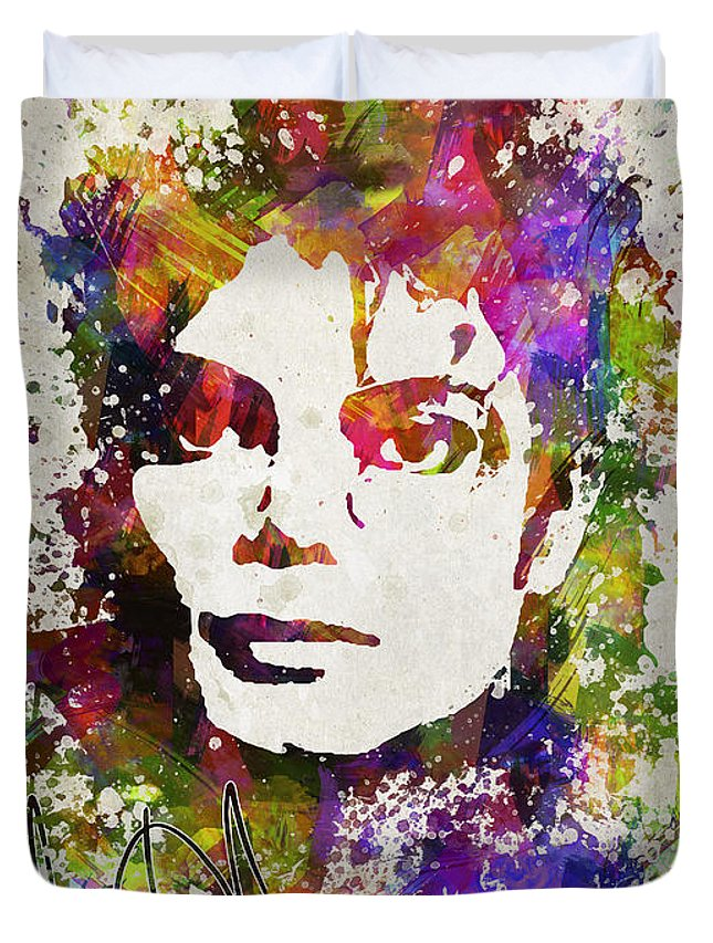 Michael Jackson Duvet Cover featuring the digital art Michael Jackson in Color by Aged Pixel