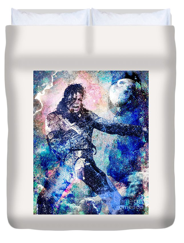 Rock Duvet Cover featuring the painting Michael Jackson Original Painting by Ryan Rock Artist