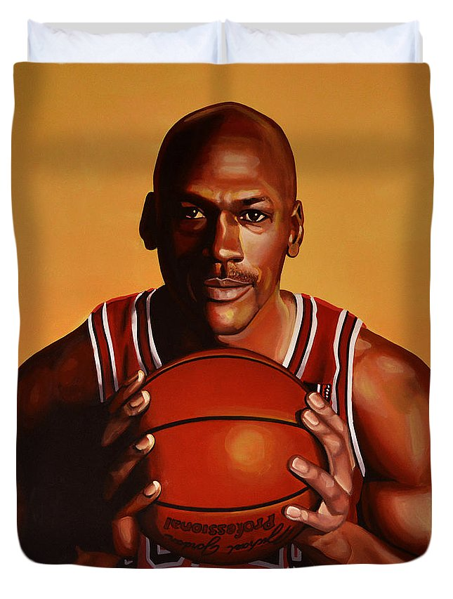 Michael Jordan Duvet Cover featuring the painting Michael Jordan 2 by Paul Meijering