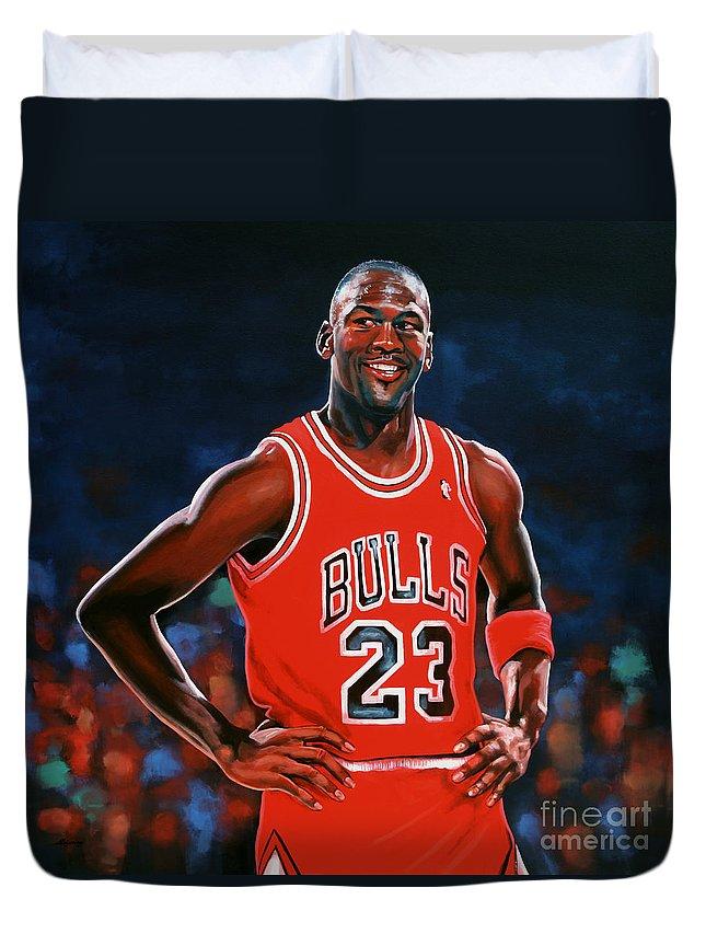 Michael Jordan Duvet Cover featuring the painting Michael Jordan by Paul Meijering