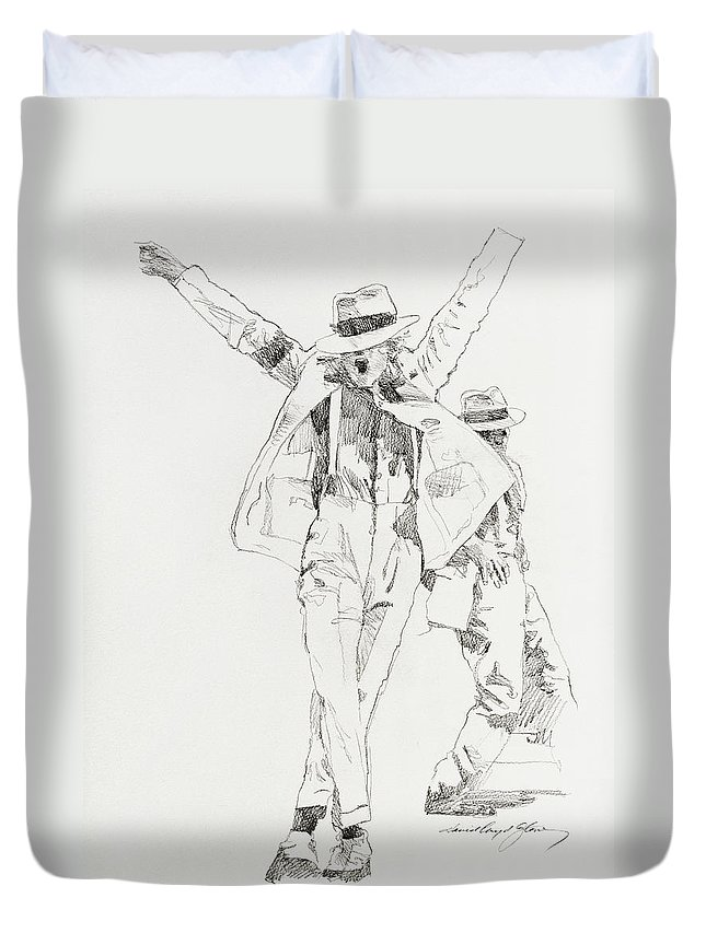 Michael Jackson Duvet Cover featuring the drawing Michael Smooth Criminal by David Lloyd Glover