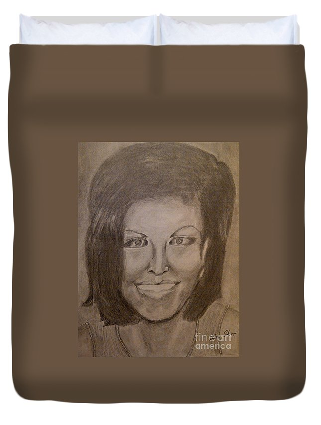 Michelle Obama President First Lady Black Woman History Politics Washington White House Heroin Portrait Ebony Civil Rights Smile Role Image Modern Politics United States Democrat Duvet Cover featuring the drawing Michelle Obama by Irving Starr