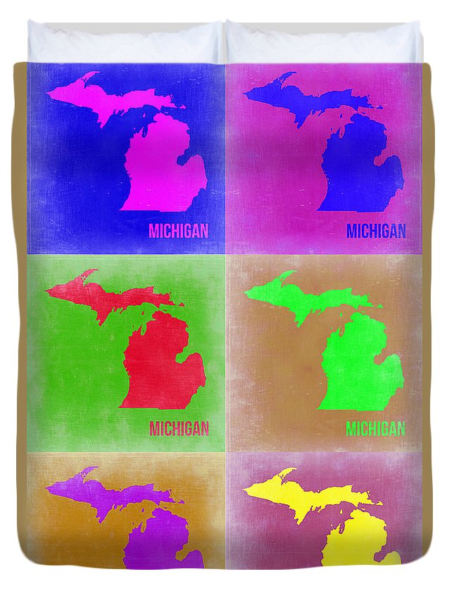 Michigan Map Duvet Cover featuring the painting Michigan Pop Art Map 2 by Naxart Studio