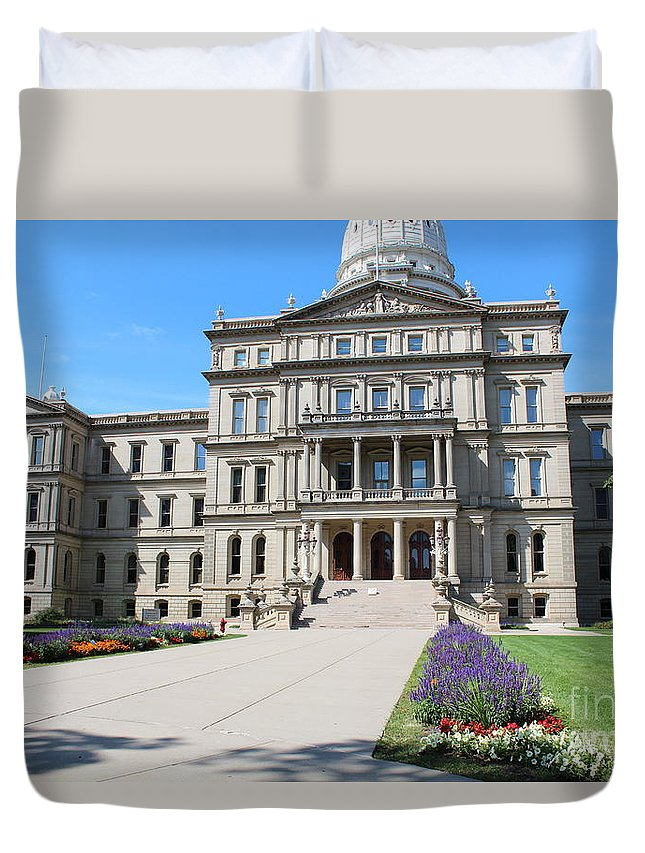 Michigan Duvet Cover featuring the photograph Michigan State Capital by Stephanie Kripa
