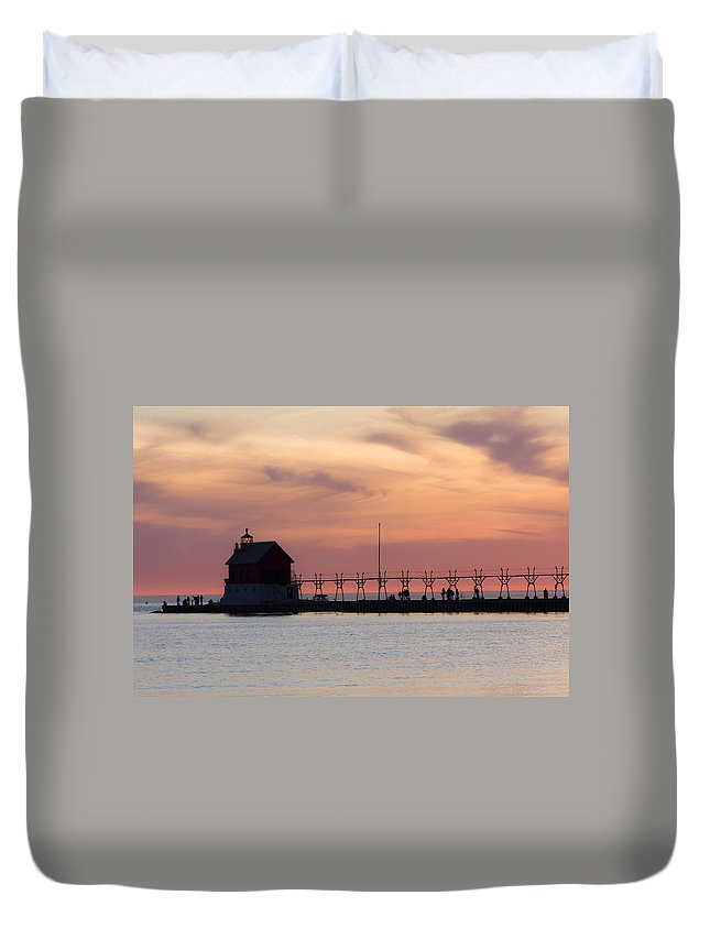 3scape Duvet Cover featuring the photograph Michigan Sunset by Adam Romanowicz