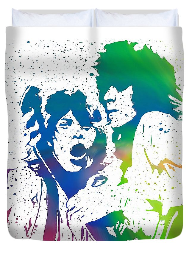The Rolling Stones Mick And Keith Duvet Cover featuring the digital art Mick Jagger And Keith Richards by Dan Sproul