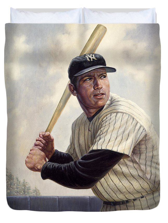 Gregory Perillo Duvet Cover featuring the painting Mickey Mantle by Gregory Perillo