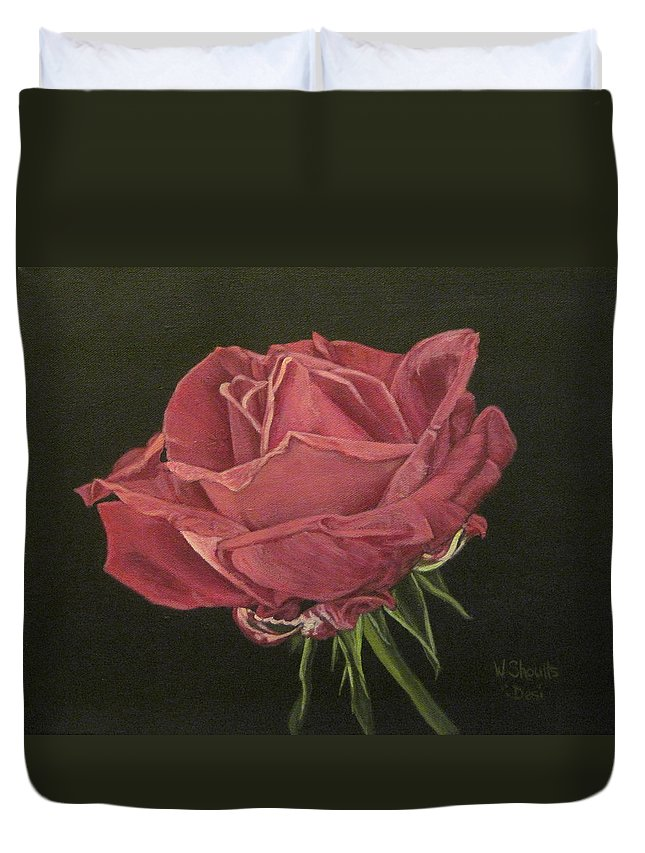 Rose Duvet Cover featuring the painting Mid Bloom by Wendy Shoults