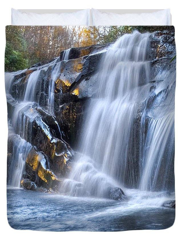 Appalachia Duvet Cover featuring the photograph Middle Falls At Snowbird Creek by Debra and Dave Vanderlaan