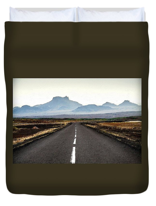 Road Duvet Cover featuring the painting Middle Of Nowhere by Florian Rodarte