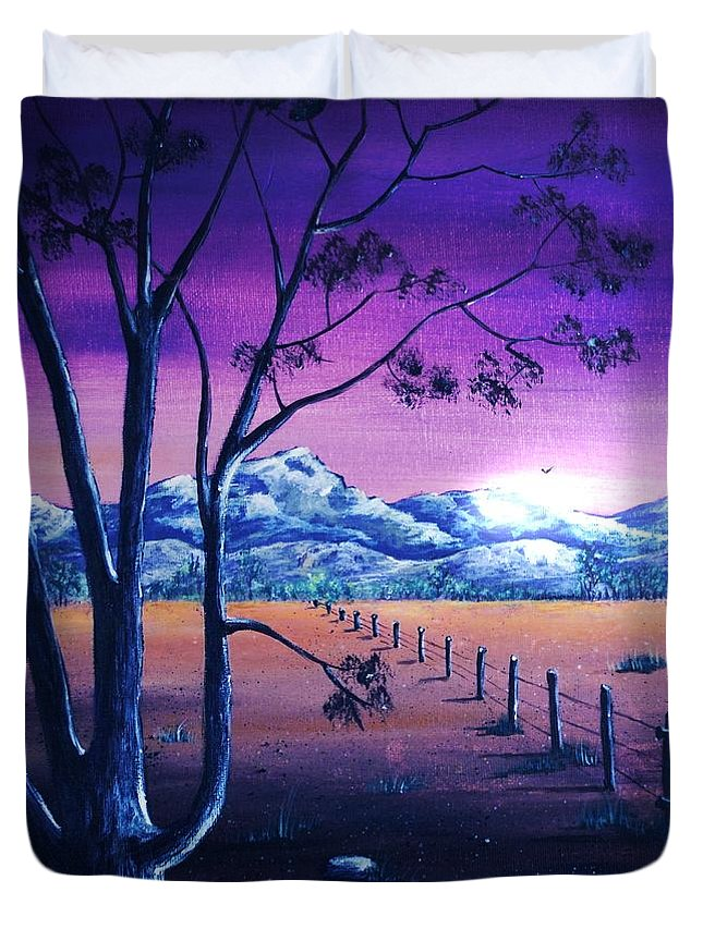 Moon Duvet Cover featuring the painting Midnight At The Border by Anastasiya Malakhova