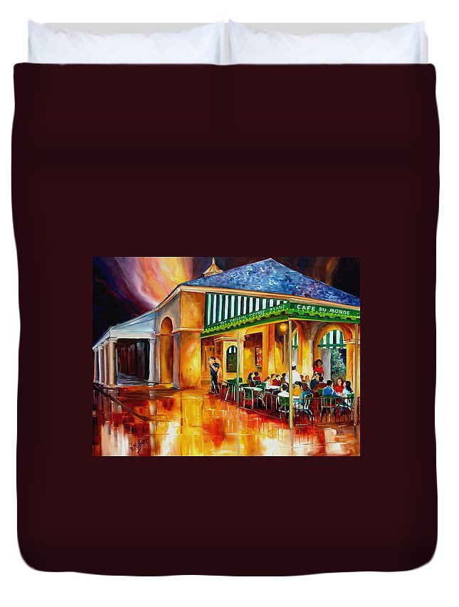 New Orleans Paintings Duvet Cover featuring the painting Midnight At The Cafe Du Monde by Diane Millsap