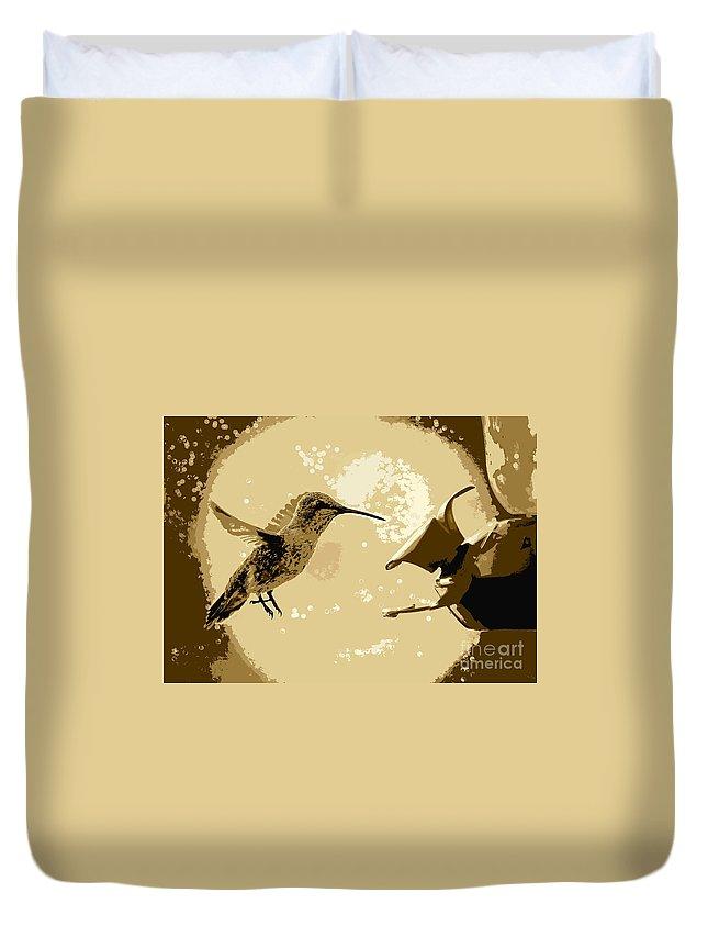 Hummingbird Duvet Cover featuring the photograph Midnight Hummingbird by Carol Groenen