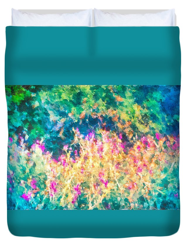 Flowers Duvet Cover featuring the mixed media Midnight In The Garden by Priya Ghose