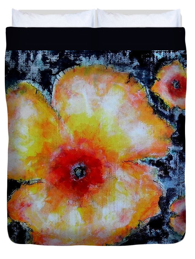 Flowers Duvet Cover featuring the painting Midnight Poppies by Cj Carroll