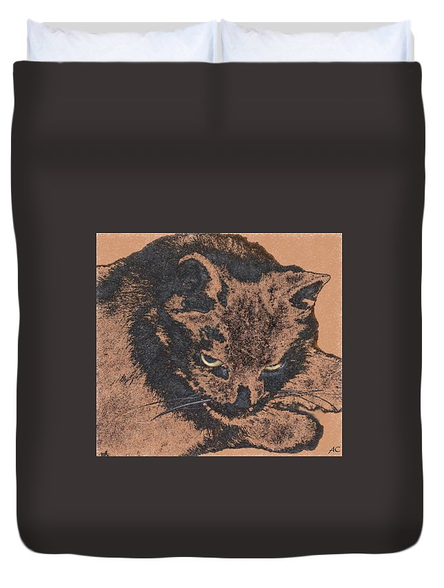 Animals Duvet Cover featuring the digital art Midnight Portrait by Aliceann Carlton