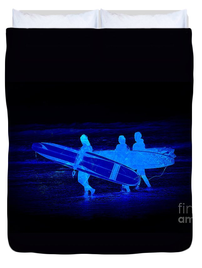 Surfs Up Duvet Cover featuring the photograph Midnight Surfers by Steve McKinzie