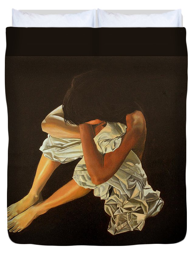 Figure Duvet Cover featuring the painting Midnight by Thu Nguyen