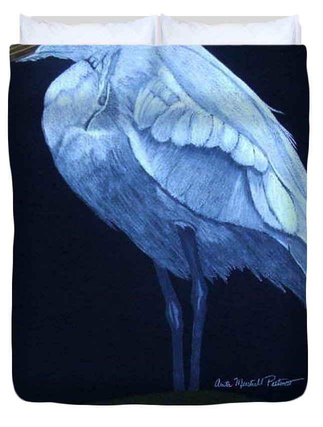 Egret Duvet Cover featuring the drawing Midnight Watch by Anita Putman