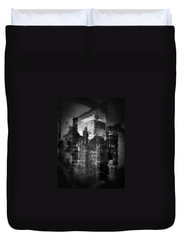 Black And White Duvet Cover featuring the photograph Midtown Black And White by H James Hoff