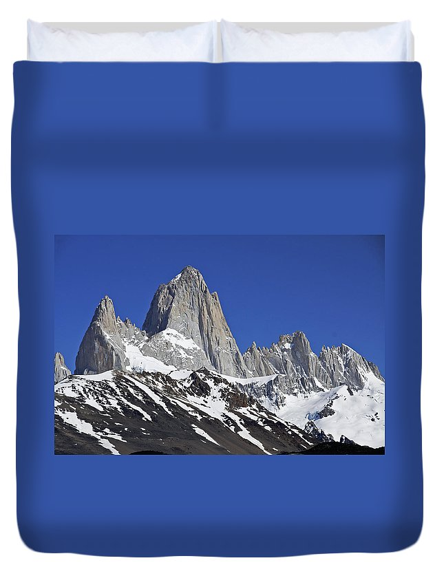 Argentina Duvet Cover featuring the photograph Mighty Mount Fitz Roy by Michele Burgess