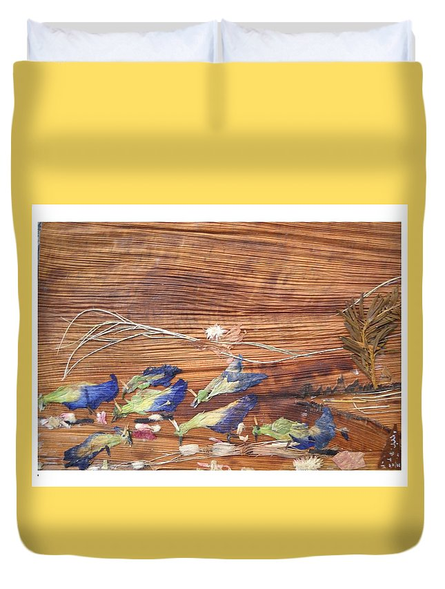 Migrated Birds Duvet Cover featuring the mixed media Migrated Birds by Basant Soni