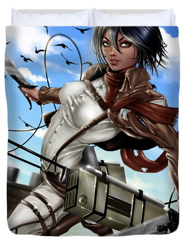 Legend Duvet Cover featuring the painting Mikasa Ackerman by Pete Tapang