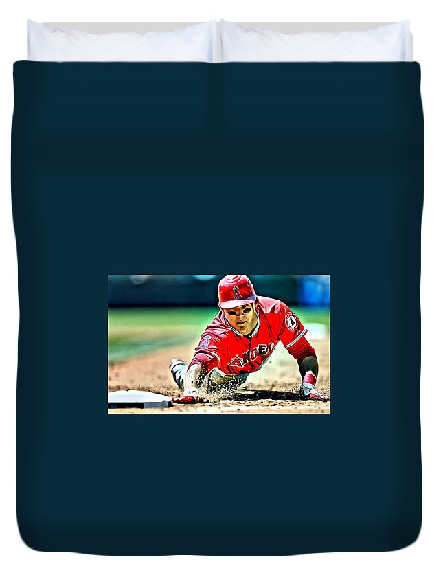 Mlb Duvet Cover featuring the painting Mike Trout Painting by Florian Rodarte