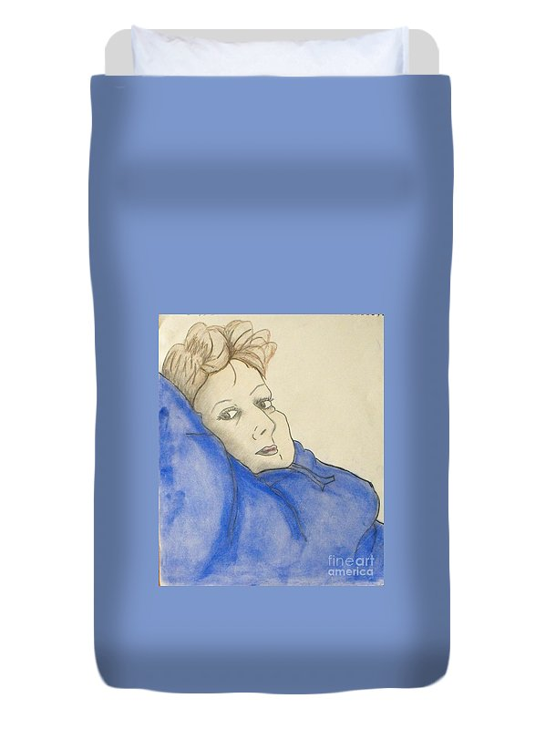 Woman Laying Back Duvet Cover featuring the mixed media Mikki In Blue by Catherine Ratliff